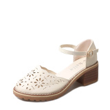 Cheapest Versatile Female Semi High Heeled Round Women S Shoes Sandals Beige Online