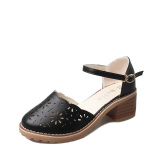 Top Rated Versatile Female Semi High Heeled Round Women S Shoes Sandals Black