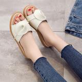 Lowest Price Versatile Leather Flat Heel Outerwear Sandals Female Sandals Beige 6539