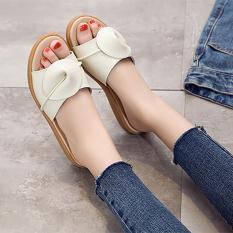 Price Versatile Leather Flat Heel Outerwear Sandals Female Sandals Beige 6539 Oem China