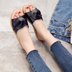For Sale Versatile Leather Flat Heel Outerwear Sandals Female Sandals Black 6539