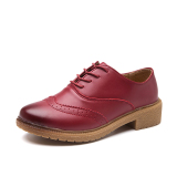 Versatile Round Flat Lace Up Oxford Shoes Shoes Wine Red Color Deal