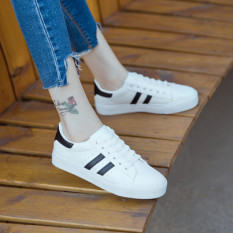 Who Sells The Cheapest Women S Korean Style Casual Lacing Flat Shoes White White And Black White And Black Online