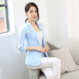 Classic Wild Spring Fashion Temperament 3 4 Sleeve Suit Nv Wai Tao Light Blue Light Blue Best Price