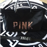 Where Can You Buy Victoriassecret Fitness Kit Female Pink Sequin Letter Travel Bag Large Capacity Handbag Intl