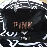 Cheaper Victoriassecret Fitness Kit Female Pink Sequin Letter Travel Bag Large Capacity Handbag Intl