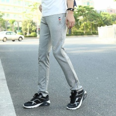 Best Buy Victory Men S Casual Solid Color Fashion Elastic Force Sports Pants Grey Intl