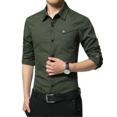 Compare Price Victory New Fashion Men Formal Shirts Long Sleeve Business Affairs Shirt Han Edition Pure Cotton Shirt Army Green Intl On China