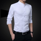 Coupon Victory New Fashion Men Formal Shirts Mandarin Collar Long Sleeve Pure Cotton Youth Shirt White Intl