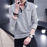Cheaper Victory New Fashion Men Polo Shirts Long Sleeve Solid Color Large Size T Shirt Grey Intl