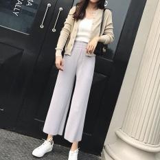 Sale Victory New Fashion Women Fold Culottes Wide Legged Pants Tall Waist Casual Pants Grey Intl Oem On China