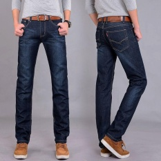 Victory New Man Straight Jeans Youth Popular Middle Waisted Fashion Long Pants Jeans(Dark Blue) Intl Coupon