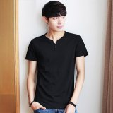 Get The Best Price For Victory New Men S Clothing With Short Sleeves T Shirt V Neck Pure Color Half Sleeve T Shirt (Black) Intl