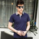 Low Cost Victory New Men S Short Sleeved Polo Shirt Cotton Men S T Shirt(Blue) Intl