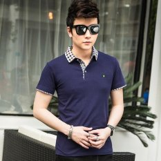 Victory New Men S Short Sleeved Polo Shirt Cotton Men S T Shirt(Blue) Intl On China
