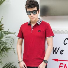 Who Sells Victory New Men S Short Sleeved Polo Shirt Cotton Men S T Shirt(Red) Intl The Cheapest