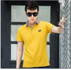 Sale Victory New Men S Short Sleeved Polo Shirt Cotton Men S T Shirt(Yellow) Intl Online On China
