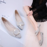 Sale Victory New Women Pointed Flat Square Buckle Single Shoes Casual Shoes Fashion Ballet Flats(Grey) Intl Oem