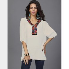 Price Compare Victory Woman Fashion Order Bead Embroidery Fat Mm Big Yards Bamboo Cotton Blouses White Intl