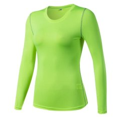 Best Buy Victory Woman Long Sleeve Base Layers Tight Motion Fitness Yoga T Shirt Moisture Absorption Clothes Fluorescent Green) Intl