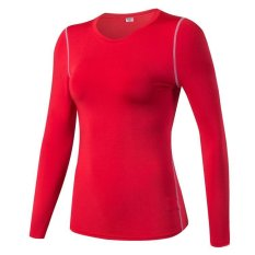 Victory Woman Long Sleeve Base Layers Tight Motion Fitness Yoga T Shirt Moisture Absorption Clothes Red) Intl Deal