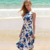 Buy Vintage Ball Gown Dress Round Collar Floral Print Patchwork With Belt Women Blue Intl Singapore