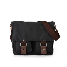 Latest Vintage Canvas Shoulder Messenger Bag Black Intl