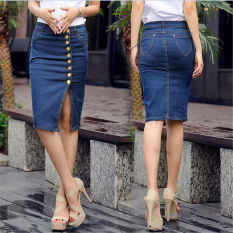 Where To Buy Vintage Denim Jeans High Waist Skirts Summer S*xy Women Single Breasted Denim Knee Length Fashion Pencil Skirt Plus Size Intl