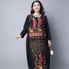 Buy Vintage Dress Folk Style Cotton Linen Printed Dress Long Sleeve O Neck Dress Summer Dress Vestidos Black Intl China