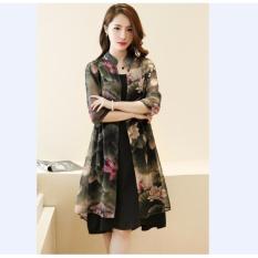 e3b0c9ffd156 Vintage Floral Printed Women Dress 2017 Summer 2 pieces Dresses Suits  Korean Style Vestidos Plus size
