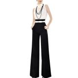 Retail Vintage Women Loose Trousers Zipper High Waist Pocket Front Flare Wide Leg Ol Career Pants Black