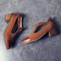 Low Price Vintage Women Pointed Toe Cut Heel Patchwork Buckle High Heels Wedge Shoes Bw 35 Intl