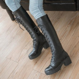 Price Vintage Womens Leather Platform Lace Up Block Heels Riding Knee High Boots Size Black Intl Not Specified Original