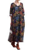Vonda 2018 Maternity Clothing For Pregnant Women Summer Casual Loose Print Cotton Dress Robe Baggy Pregnancy Vestidos Plus Size Navy Blue Intl Compare Prices