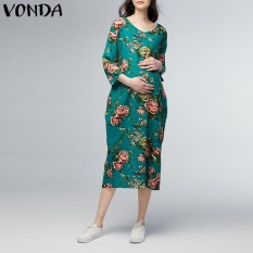 Price Comparison For Vonda Maternity Clothing Casual Loose Ankle Length Dress 2018 Pregnant Women V Neck 3 4 Sleeve Floral Printed Vestidos Plus Size Green Intl
