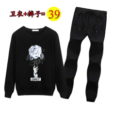Review Wang More Do Foe You Korean Style Autumn Round Neck Pullover Pants Men S Hoodie Hand Flower Black Sweatpants Other