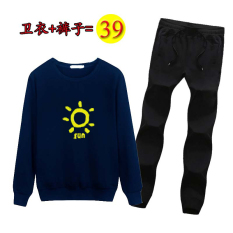 Compare Wang More Do Foe You Korean Style Autumn Round Neck Pullover Pants Men S Hoodie Sun Blue Sweatpants Prices