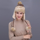 Warm Women Winter Hat With Ear Flaps Snow Ski Thick Knit Wool Beanie Cap Hat Intl Online