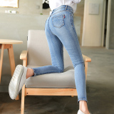 Get Cheap Lekuniu Women S Korean Style Stretch Slim Fit Jeans 1961 1 Light Blue 1961 1 Light Blue