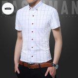 For Sale Weargen Brand 100 Cotton New Fashion Casual Men Shirt Short Sleeve Mandarin Collar Slim Fit Shirt Men Korean Business Mens Dress Shirts Men Clothes M 5Xl 308 2311 White Intl