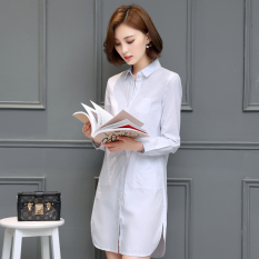 The Cheapest Loose Brief Women S Mid Length Slimming Cotton Shirt White Shirt White Online
