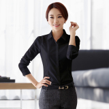 White Cotton Shirt Female Uniforms Ol Career Long Sleeve Dress Slim Bottoming Korean Fan White Shirt Ladies Clothes Black Cotton In Stock
