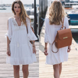 White Cotton Sun Protection Clothing S*xy Beach Dress Holiday Dress B*k*n* Cover Up Swimsuit Female Outside The Ride Gowns Long Section For Sale Online