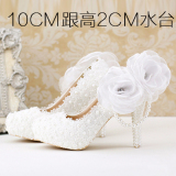 Best Reviews Of White Super High Heeled Waterproof Platform Wedding Veil Photo Shoes Wedding Shoes 10Cm With High White Pearl A Section 10Cm With High White Pearl A Section