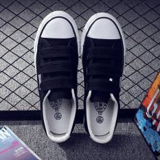 Korean-style female Velcro student loafers Velcro canvas shoes (Ouma 42 +  Black) (Ouma 42 + ... a36b2c556
