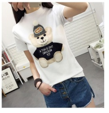 Discount White New Fashion Kawaii T Shirt Women Harajuk O Neck Top Short Sleeve Bear Print T Shirt Fashion Summer Tees For Ladies Intl Oem On China