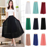 Sale Whyus Women Chiffon Long Solid Candy Color Pleated Maxi Skirt Black China