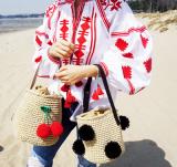 Price Korea Balls Cherry Woven Beach Bag Straw Black Ball Oem Original