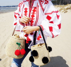 Sale Korea Balls Cherry Woven Beach Bag Straw Black Ball Oem On China