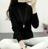 Great Deal Wild Fall And Winter Clothes Sweater Women Rendering Shirt Black